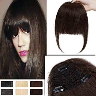 Clip in Human Hair Bangs with Temple Full Fringe One-Piece Short Straight Clip on Extensions Hair Piece Accessories for Women #2 Dark Brown
