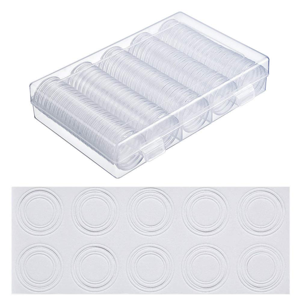 MULOVE Cápsulas de soporte de monedas de 100 piezas y 4 tamaños (20/25/27/30 mm) Junta de protección EVA, estuche de plástico para monedas Caja de álbum para suministros de colección de monedas: