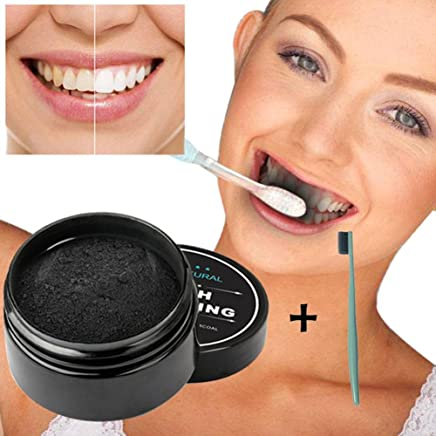 Auveach New Teeth Whitening Powder Natural Organic Activated Charcoal Bamboo Toothpaste Tool