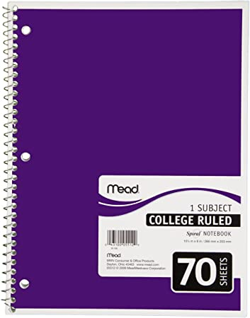 College Ruled Notebook 1 Subject