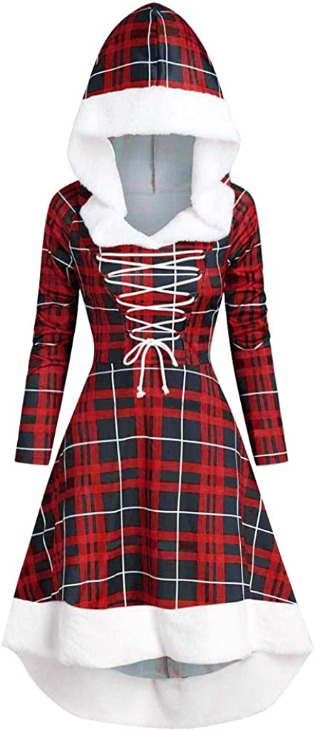 Mingfa Womens Cocktail Dresses Winter Fashion Long Sleeve Patchwork Lattice Plaid Lace Up Hooded Vintage Dress Party Swing Costume Party Christmas Mini Dress