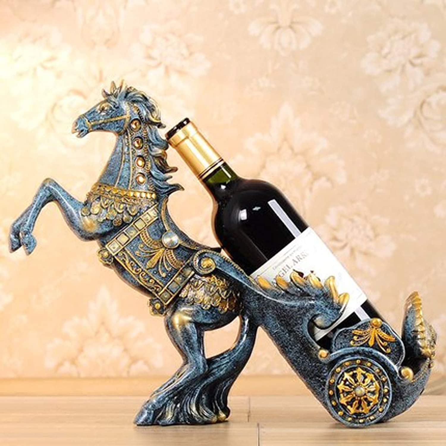 Wine Rack Home Wine Cabinet Living Room Horse Cart Wine Rack Decoration Ornaments New House Housewarming Gifts Necessary (color   A)