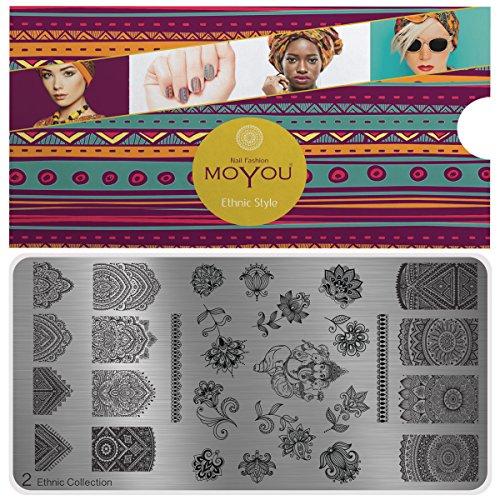 MoYou's XL Ethnic 2 Stamping Schablone, Nail Art Stampling - Nagel Lack Stempel, mandala Blume, voller Nagel Maniküre