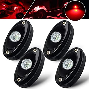 BukNikis 4 Pods Red Rock Lights Kit Waterproof underglow LED Neon Underbody Fender Lights for Jeep Off Road Truck Car ATV SUV Boat Under Body Glow LED Accent Lighting Lamp