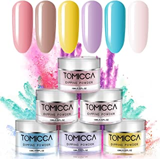 TOMICCA Dipping Powder Rainbow Color Set of 6 Nail Acrylic powder 0.5oz Summer Color powder for dip system