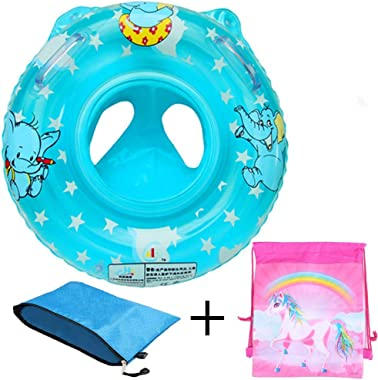 Stravel Baby Pool Float for 3-36 Month Kids with Double Handle,Infant Inflatable Swim Ring Float Tube,Bathtub Toys Swimming P