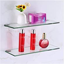 Tempered Glass Bathroom Shelf with 8 MM Thick Glass Wall Mount Rectangular Polished Chrome Bracket JAB (Color : 60cm, Size...