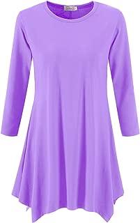Topdress Women's Swing Tunic Tops 3/4 Sleeve Loose T-Shirt Dress