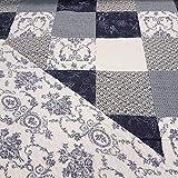 Stoff Baumwolle Meterware Allyson blau weiß Tagesdecke
