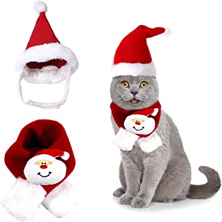 Vehomy Christmas Cat Santa Hat Scarf Xmas Pet Dog Scarf Hat Scarf for Dogs Puppy Cats Xmas Dog Cat Costume