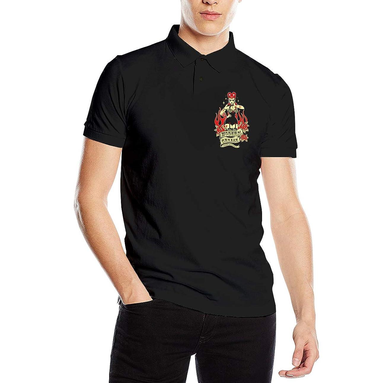 単語レベル周波数ポロシャツ 半袖 夏用メンズシャツ Rockabilly ロカビリー ボタンダウンポロシャツ スポーツウェア Tシャツ ティーシャツ シンプル カジュアル 通気性 吸汗性 快適 無地 薄手 テニス ゴルフ