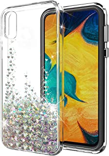 Galaxy A50 Case,SunStory Luxury Fashion Design with Moving Shiny Quicksand Glitter and Double Protection with PC Layer and TPU Bumper Case Designed for Samsung Galaxy A50 Phone (Silver)