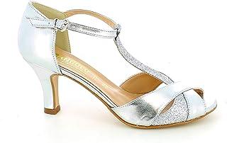 L'ANGOLO CALZATURE - Sandalo da Ballo Argento con Glitter