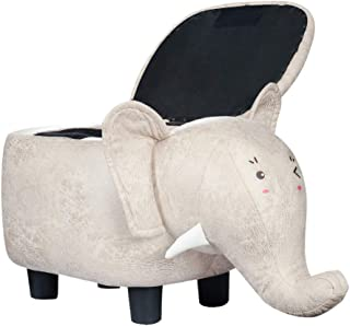 COMHO Animal Shape Storage Ottoman with Eye Stickers, Kids Ride-on Stool with Padded Seat, Footrest for Nursery Room (Elephant)