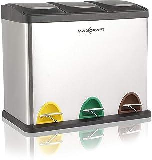 MAXCRAFT Cubo de Basura Cubo de Reciclaje Basurero Acero Inoxidable Cocina 3 Contenedores con Tapas Capacidad para 24 litros (3 x 8 litros)