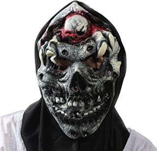 LUHUAISH AU Halloween mask Scary Wig bar Decoration Props Super Horror Demon Rotten Head Blasting mask