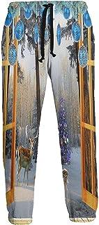 Emild Pantalones de chándal para Hombre Adornos navideños de Ciervo de árbol de Ventana Pantalón de chándal Ligero con Bolsillos Pantalones Suaves