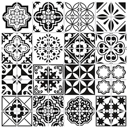 64 Piezas Pegatinas de Azulejos, 10x10cm Clásico Retro Negro y Blanco Estilo Marroquí Autoadhesivo Azulejo Transferencias Pegatinas DIY Para Cocina Baño Decoración del Hogar