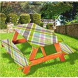LEWIS FRANKLIN - Cortina de ducha abstracta de lujo para picnic, mantel, con bordes elásticos en diagonal paralelas, 70 x 72 pulgadas, juego de 3 piezas para mesa plegable
