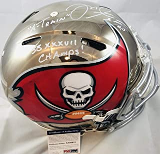 Mike Alstott signed chrome speed AUTHENTIC full size Buccaneers helmet PSA 8A08815 Purdue Boilermakers football Tampa Bay dual inscribed