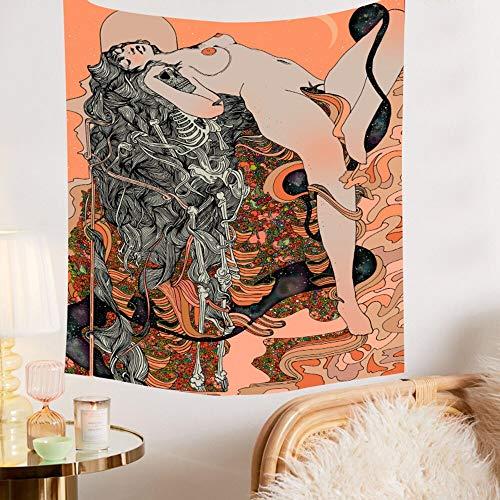 Tapiz psicodélico de niña de las flores Hippie Art Paño de pared Toalla de playa en fondo decorativo Tapiz de tela A2 150x200cm