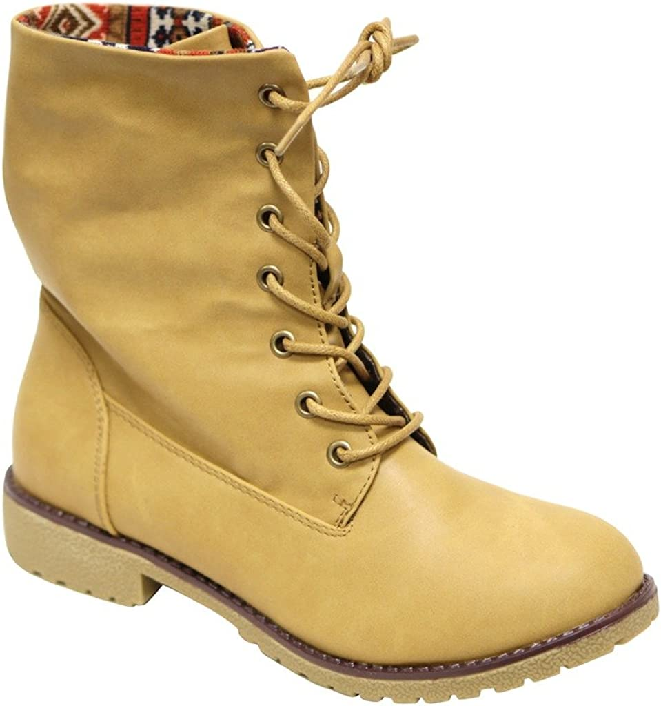 Bella Marie New york-28 Women's Round Toe Rubber Sole lace up Tribal Lining PU mid-Calf Boots