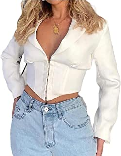 Women's Sexy Crop Lapel Long Sleeve Blazer Jacket