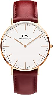 Daniel Wellington Classic Suffolk DW00100120 Leather Band Analog Watch for Men - Reddish Brown and Rose Gold, 40 mm