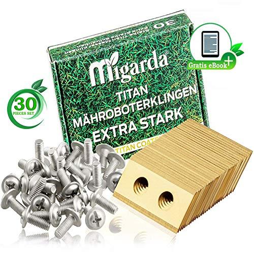 Migarda - Worx Landroid Messer - [30 Stück] und verbesserte Schrauben - Rasenmäher Titan-Klingen für Mähroboter Ersatzmesser Ersatzteile Zubehör - inkl eBook