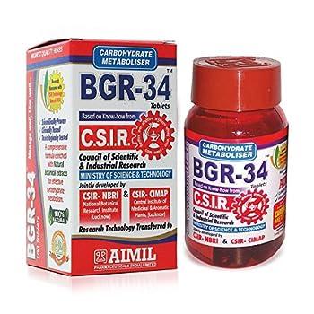 100 BGR-34 TABLETS  1 PACK  100% NATURAL HERBAL Blood Glucose Metaboliser Research product of C.S.I.R.