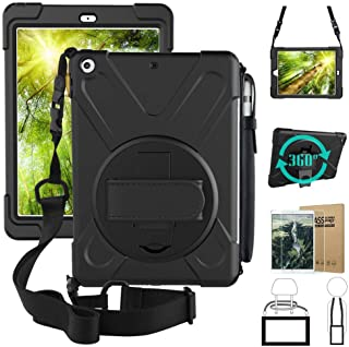 iPad 9.7 2018 Case,iPad 6th Generation Case, 360 Degree Rotatable Handstrap Shoulder Strap 3 Layer Shockproof Case & Pencil Holder & Tempered Glass Screen Protector for iPad 9.7 inch A1954/A1893