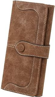 TREESTAR Women's Vegan Leather 17 Card Slots Card Holder Long Big Bifold Wallet