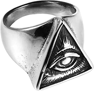 HZMAN Biker Cool Eye Rings for Men Women, Stainless Steel Band Illuminati The All-Seeing-Eye Pyramid/Eye Symbol Ring, Eye of Providence