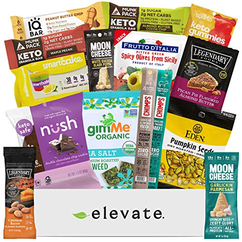 KETO Snack Box Care Package [15 Count] Mix Of Low Carb (5g or less), Low Sugar (2g or less), Gluten Free Snacks, A Gift Box Of High Fat, High Protein Keto Friendly, The Perfect Mother's Day Gift