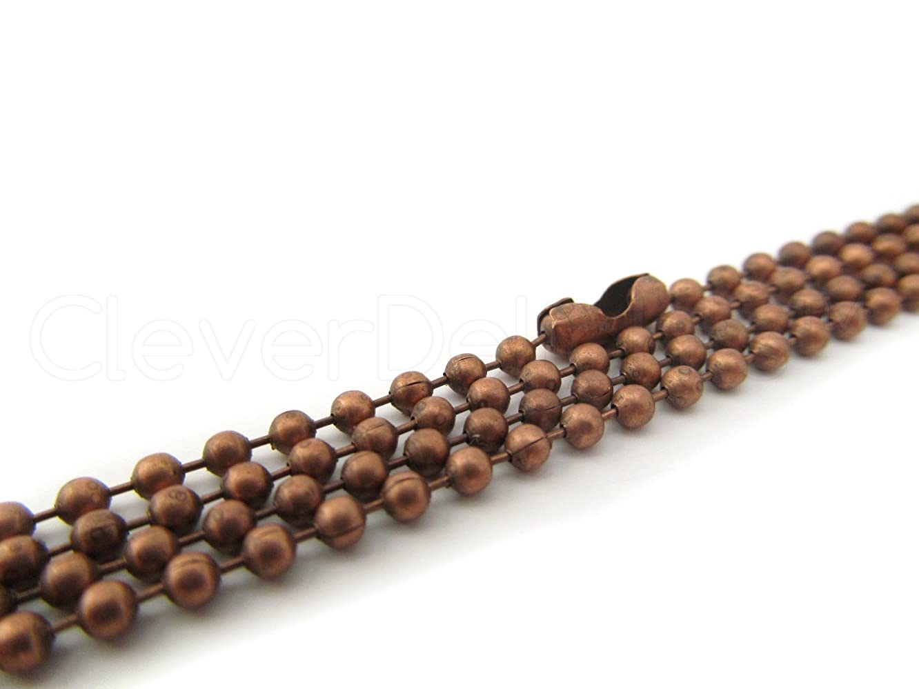 CleverDelights 10 Ball Chain Necklaces - Antique Copper Color - 24 Inch - Jewelry Findings - 2.4mm Ball - Adjustable Antiqued Necklaces - 24
