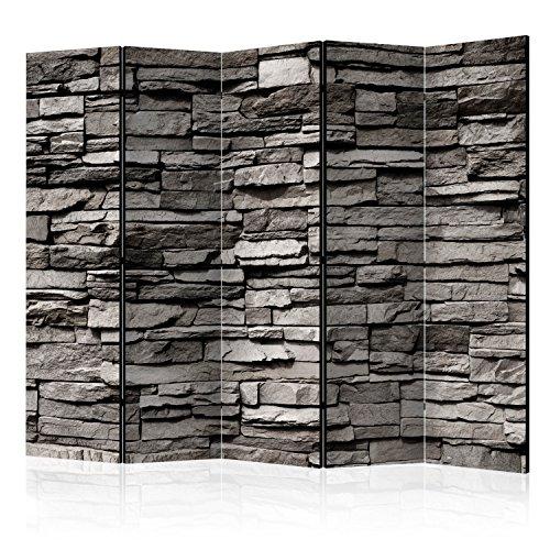 murando Raumteiler Stein-Optik Foto Paravent 225x172 cm beidseitig auf Vlies-Leinwand bedruckt Trennwand Spanische Wand Sichtschutz Raumtrenner grau f-B-0020-z-c