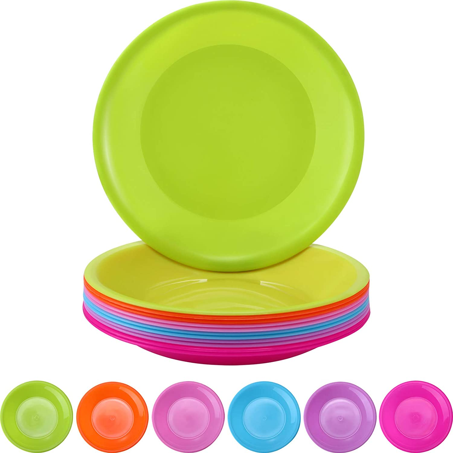 12 Pieces Colorful Plate Set Small Snack Plastic Pi Plates Max 57% depot OFF