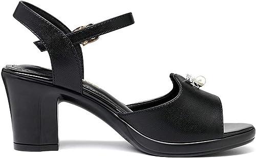 SFSYDDY Chaussures Populaires Bouton des Chaussures 7Cm Sandales Nouveau Style La Mode Les Talons Haut Et épaisse