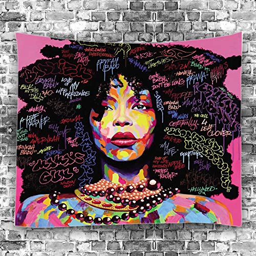 Unitendo African American Black Girl Colourful Print Wall Hanging Tapestries Indian Polyester Picnic Bedsheet Afro Wall Art Decor Hippie Tapestry, 80X 60 Afro Explosion Hair Girl