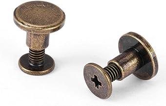 Set van 20 sets messing platte hoofd knop stud, brons lederen schroeven nagel klinknagels, DIY leer ambachtelijke metalen ...