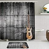 YiiHaanBuy Juego de Cortinas y tapetes de Ducha de Tela,Guitarra eléctrica con Pared Negra,Cortinas de baño repelentes al Agua con 12 Ganchos, alfombras Antideslizantes
