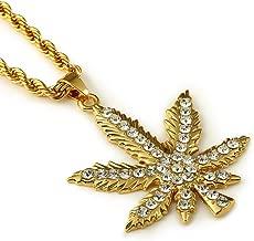 Goldene Halskette mit Anhänger Hanfblatt Modeschmuck 70er Jahre Hanf Marihuana