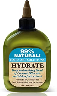Difeel 99% Natural Hair Care Solutions- Hydrate, With Coconut, Olive Oils and Melon fruit Extracts, Rehydrates Dry Damaged Hair, For Deep Moisturizing & Conditioning 7.8 oz. (Pack of 2)