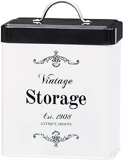 Amici Home, A7CDI021R, Antique Shoppe Vintage Storage Metal Canister, Food Safe, Push Top Lid, 96 Ounces, Medium