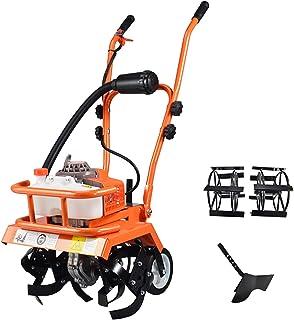 QILIN Garden Cultivator, 2-Cycle/4-Cycle Gas Powered Cultivator, Small Petrol Tiller, Gear Drive, Tillage Width 35cm, Orange