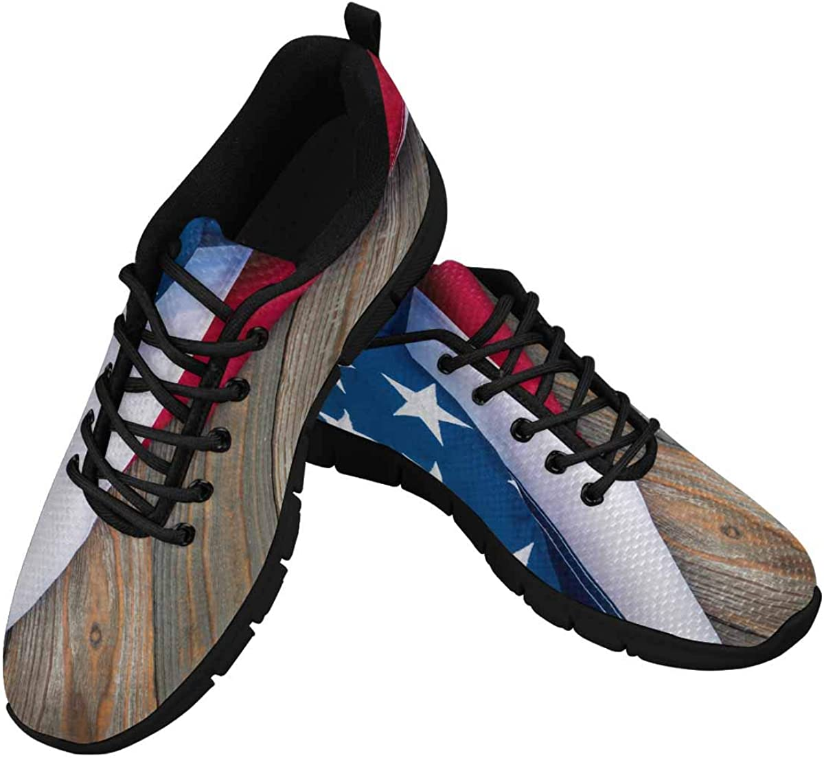 InterestPrint American Flag on Wood Women Walking Shoes Comfortable Lightweight Work Casual Travel Sneakers