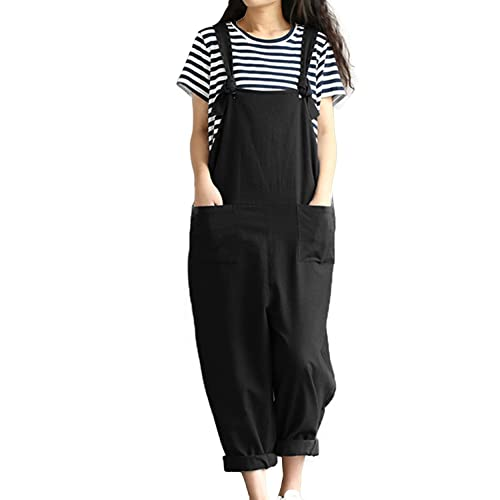 387551a05db Lncropo Women Large Plus Size Baggy Linen Overalls Casual Wide Leg Pants  Sleeveless Rompers Jumpsuit Vintage