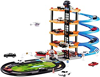 Junior Toy Garage, Anytec 5 Level Fours Cars One Helicopterwith Working Lift Modern Car Park Auto Parking Garage Station Kids Play Set DIY Toys