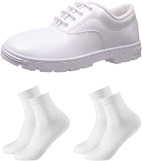 White School Shoes for Boys with 02 Pairs Socks Combo Offer 3 UK