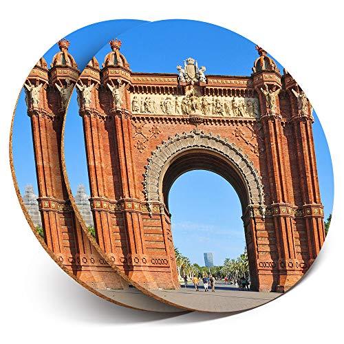 Destination Vinyl ltd - Posavasos (2 Unidades), diseño de Arco de Triunfo de Barcelona con Arco Brillante para Cualquier Tipo de Mesa #12196